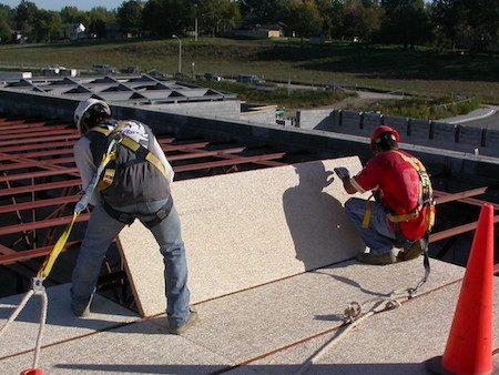 Cementitious Wood Fiber Roof Decks - Tectum install 2 - 450 x 338